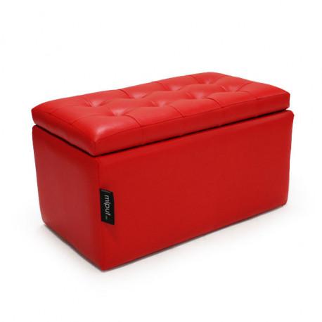Puff Arcón 75x40x40 Polipiel Rojo