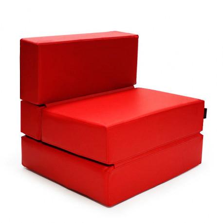Puff Cama Convertible y Plegable - Polipiel Rojo