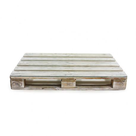 Mesa de Palet ECO Blanco Envejecido con Cristal