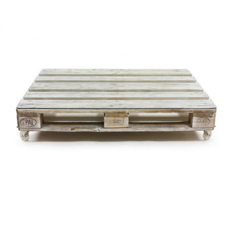 Mesa de Palet ECO Blanco Envejecido con Cristal y Ruedas