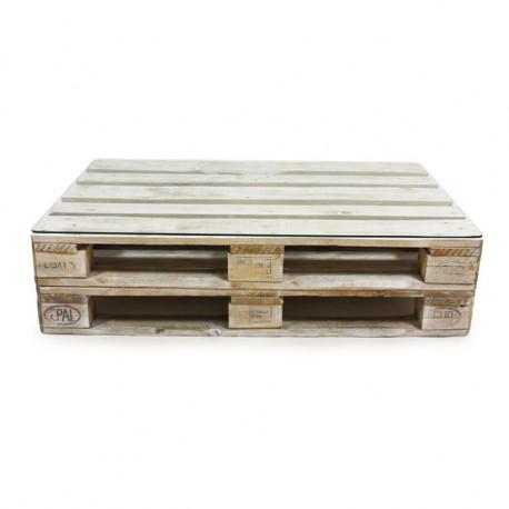 Mesa de Palet ECO Blanco Envejecido con Cristal y Doble Base