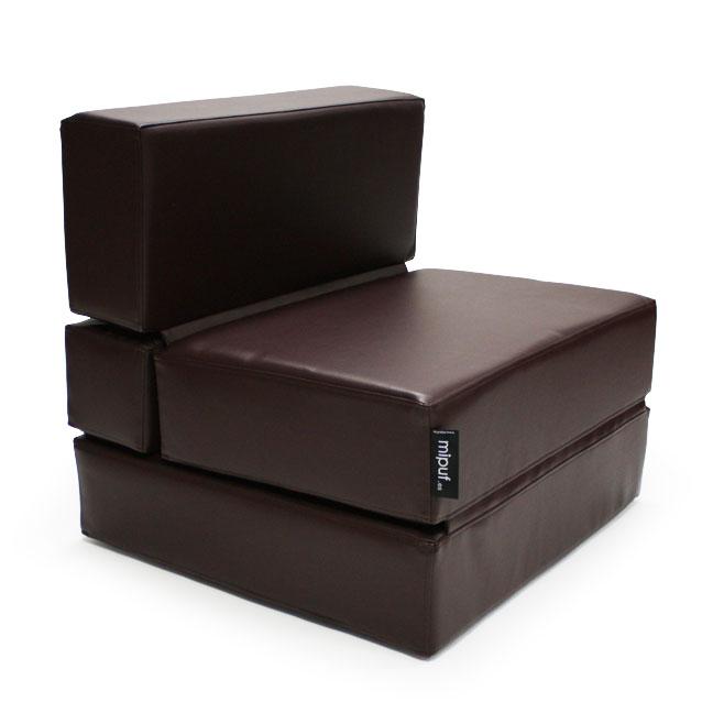 Puff Cama Convertible en modo sillón | Polipiel marrón