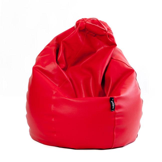 Puf Pera XL - Polipiel color rojo